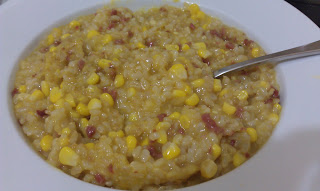 Salami and Corn Brown Rice Risotto