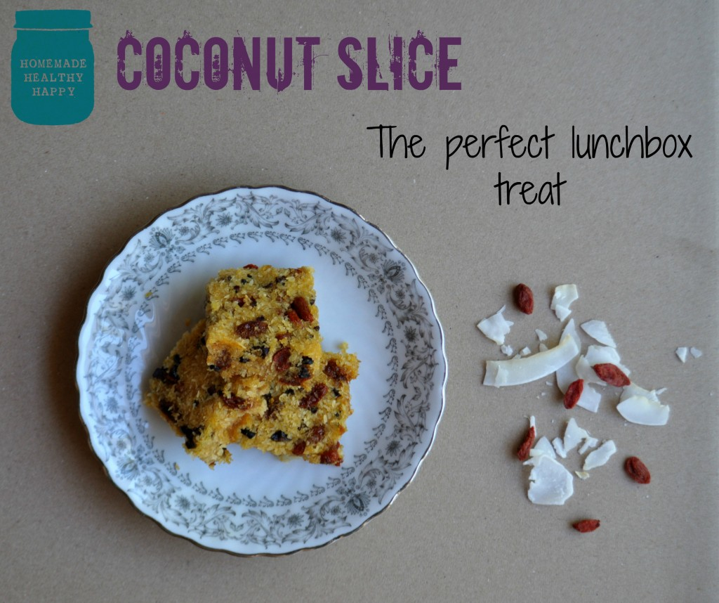 Coconut Slice, The Perfect Lunchbox Treat on Homemade, Healthy, Happy