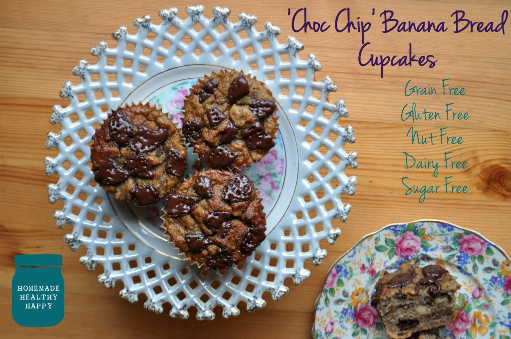 Grain Free Choc Chip Banana Bread Cupcakes on Homemade, Healthy, Happy