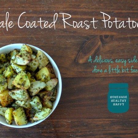 Kale Coated Roast Potatoes on Homemade, Healthy, Happy
